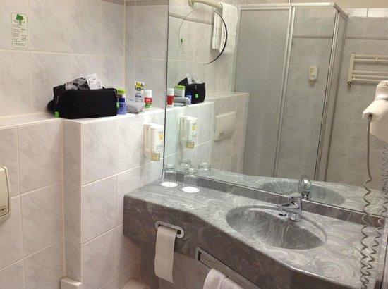 Rheinhotel 4 Jahreszeiten: Blick in den Spiegel lässt das Bad größer wirken