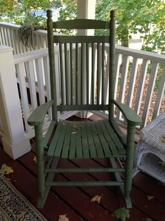 1868 Crosby House: Rocking chair on porch outside