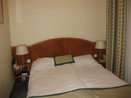 Hotel Hungaria City Center : Double bed with paper-thin pillows