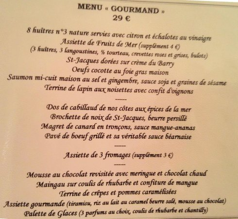 Menu gourmand picture of le jardin delice saint cast le for Jardin lee menu