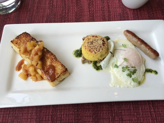 Olea Hotel: brioche french toast with truffled potato cake over mushrooms with an over easy egg