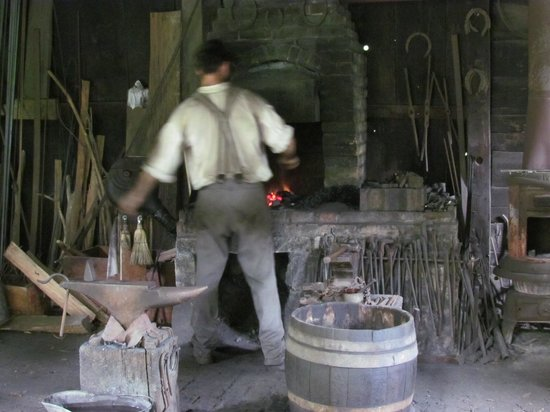 Meadowcroft Rockshelter and Historic Village: Blacksmith Shop at Meadowcroft Historic Village - August 8, 2013