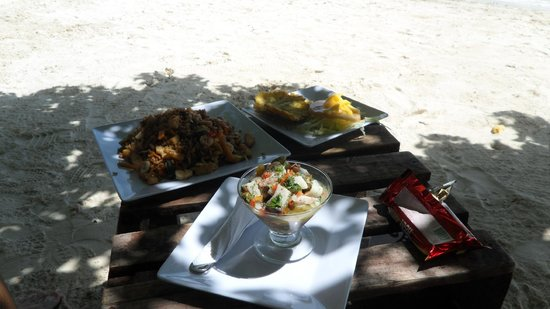 The Grog Rocky Cay San Andres: Ceviche and Seafood Risotto (Arroz Caribe)