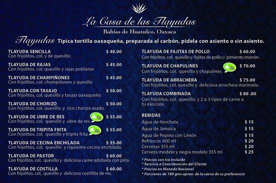 La Casa de Las Tlayudas: checa que Precios!!!