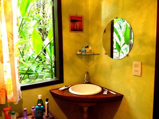 Pousada Anjali: Bathroom - with view of the lush greenery that surrounds the pousada.
