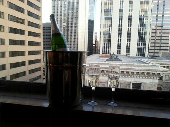 Magnolia Hotel Denver: Our view on the 12th floor with a surprise from our concierge