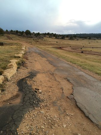 Zion Ponderosa Ranch Resort: The beat-up road to the tent sites and cowboy cabins
