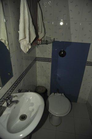 """A Palace on the River, Rashmi Guest House: Il soffione doccia é nella parete di fronte il lavandino, la porta d'ingresso é a """"filo"""" lavandi"""