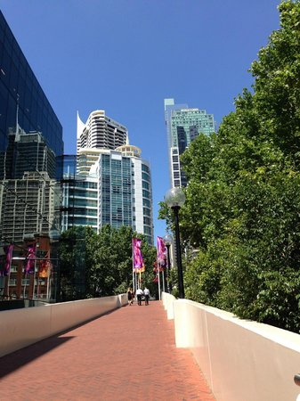 Walking back from Darling Harbour