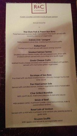 The Rose & Crown: The menu