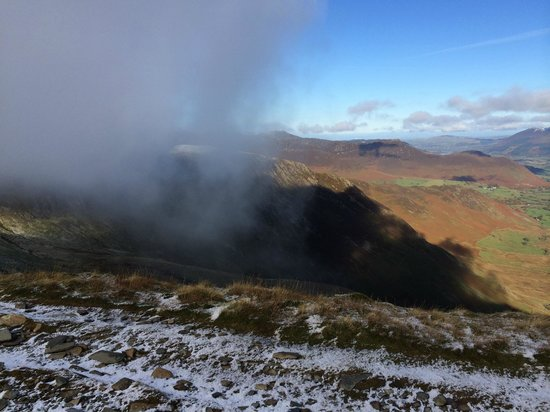 Central Fells: Cloud atmospherics on Dale Head - not my finger!