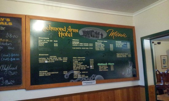 The Richmond Arms : The Menu