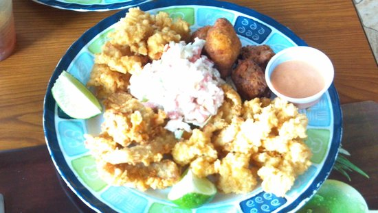 Ocean Pearl Bonefish Resort: Conch, conch fritters, grouper, lobster, crab salad , and
