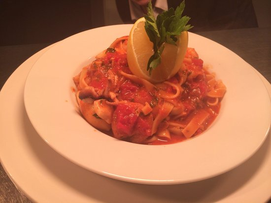 Birds and the Bees: Baby octopus, baby squid and king prawn tagliatelle bound in a tomato and chill sauce...... Mmmm