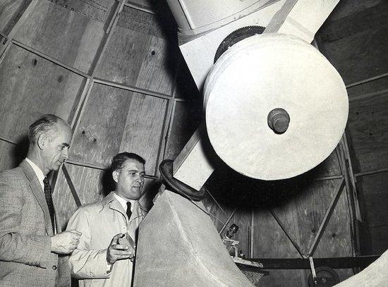 Von Braun Astronomical Society: Dr. Ernst Stuhlinger and Dr. Wernher von Braun at the RCAA Observatory in 1956