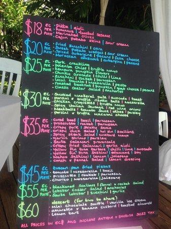 Sheer Rocks: menu