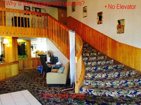 Econo Lodge Inn & Suites: Lobby with worn, dirty carpet