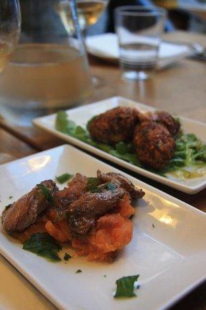 Three Birds - Glazed duck livers with sweet potato