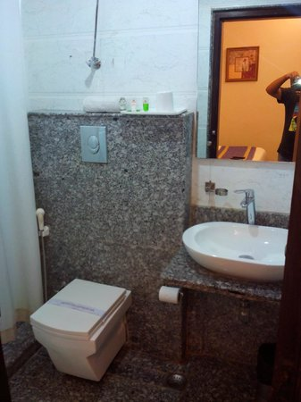 Hotel Rupam: Bathroom with soap, sampoo  refilled on daily basis