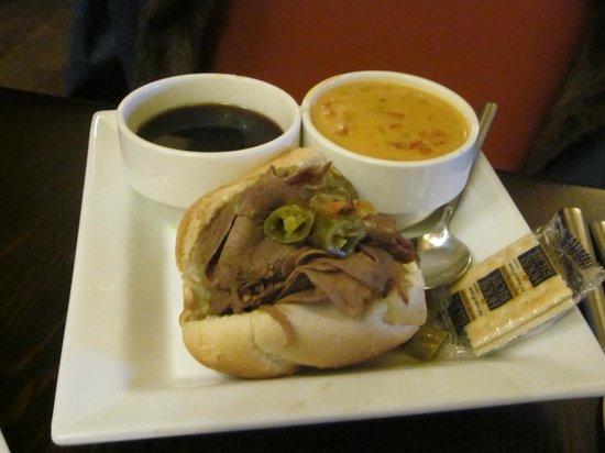 Caroline's Restaurant: Italian Beef 1/2 sandwich and soup