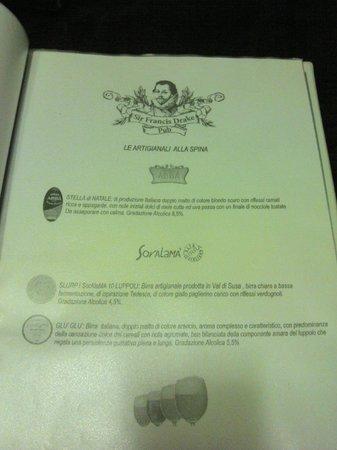 Sir Francis Drake Pub: Birre alla spina artigianali.