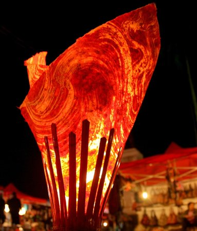 Travel To Laos: Handmade paper light with bamboo frame.