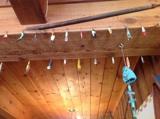 The Lakehouse: fishing lure decor