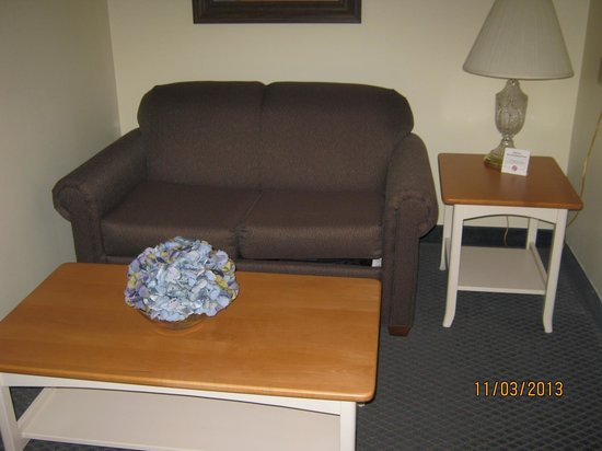 Blue Gate Garden Inn - Shipshewana Hotel: The sitting area in room had a pull out bed in couch