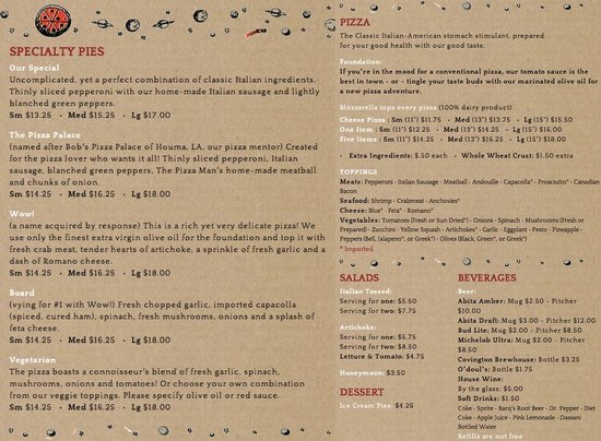 The Pizza Man of Covington: Complete Menu, also can be found online at: