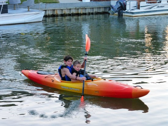 Ponchartrain Landing RV Park and Marina: Teaching your baby brother to kayak.