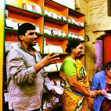 Spice Paradise: Anil on the left and Rehka on the right. They are explaining the heath benefits of each spice.