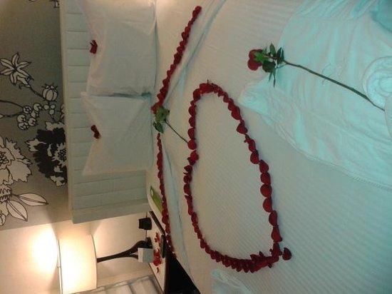 Manhattan NYC–an Affinia hotel: rose petal filled room