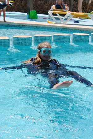MDS Diving School: Getting confident with the equipment in the pool first...