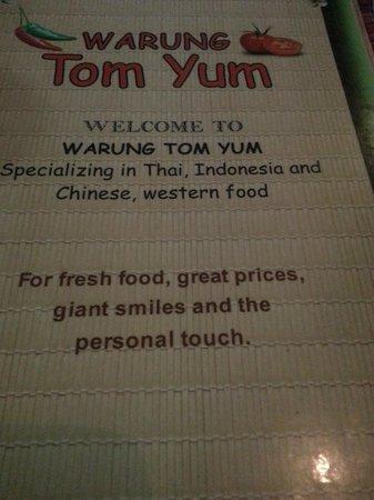 Tom Yums: Menu