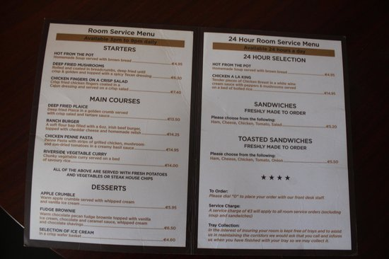 The Riverside Park Hotel & Leisure Club: Room service menu