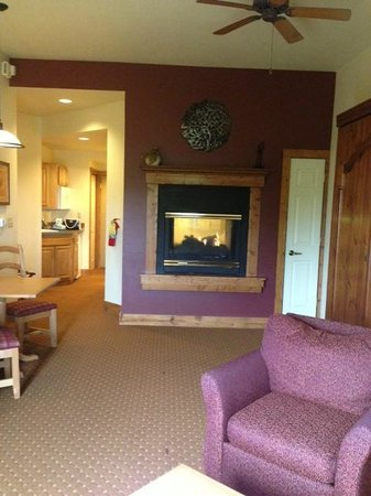 Worldmark Galena: Living room and kitchen. Murphy bed is in wall on right.