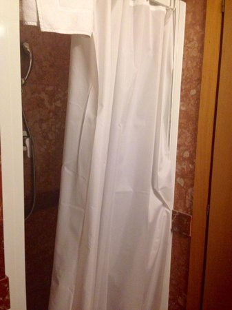 Champagne Palace: Standing shower with curtains too long! The water was not draining properly.