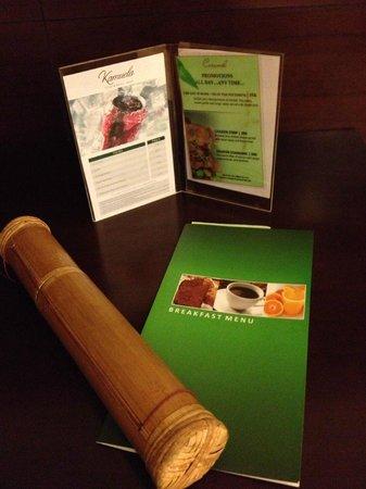 Kamuela Villas and Suite Sanur: In room breakfast menu etc