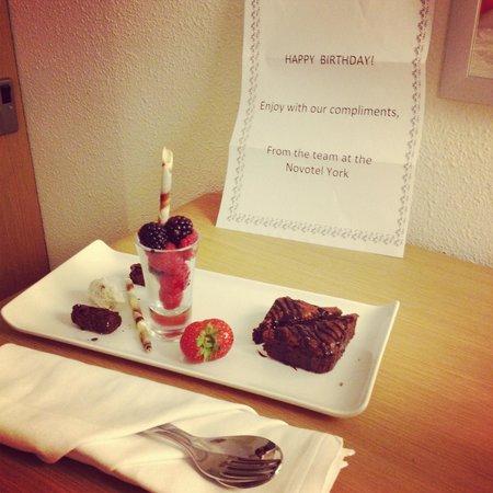 Novotel York Centre : birthday gift