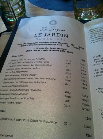 Menu picture of le jardin les crayeres reims tripadvisor for Restaurant reims le jardin