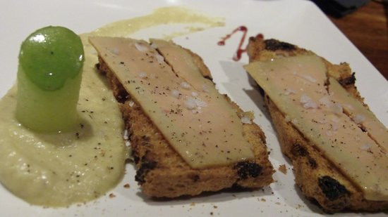 Atari Gastroteka: house made foie gras with banana puree and melon stick. So good!