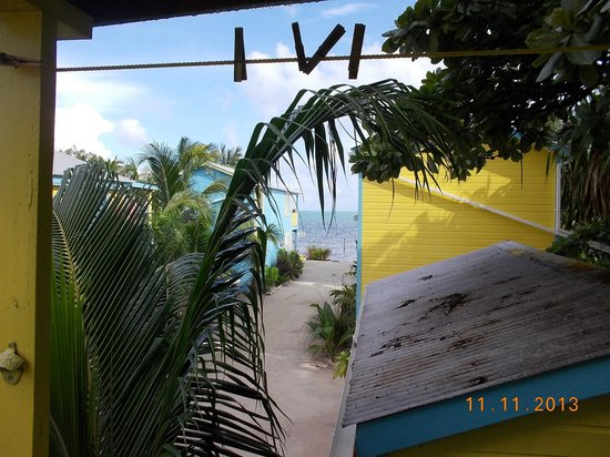 Colinda Cabanas: looking to the beach from the front porch(veranda)