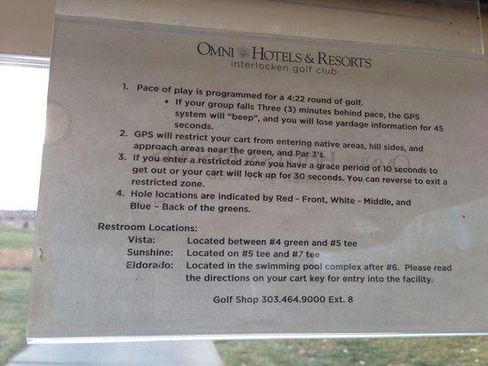 Omni Interlocken Resort Golf Club: Info sheet on cart