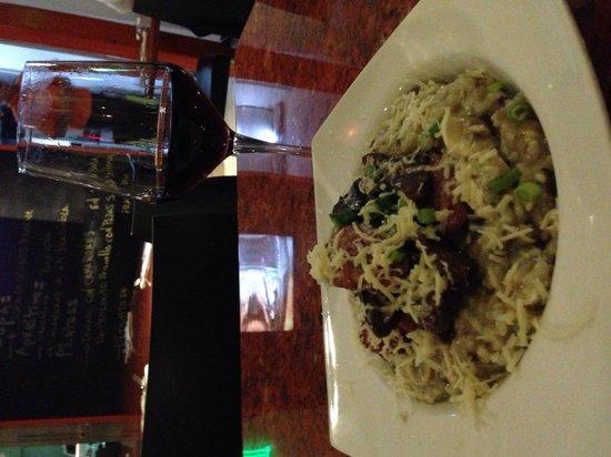 Muzzarella: Beef, sausage, mushroom risotto.