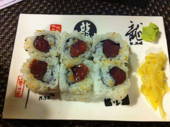 Take sushi: California maki spicy tuna