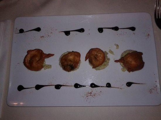 Le Grapillon: risotto et empura d'escargots de Bourgogne