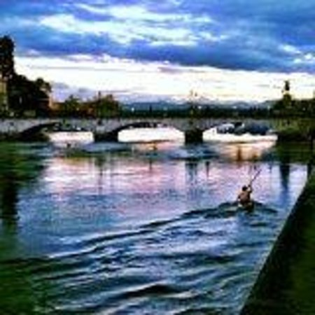 Storchen Zurich: View of water at dusk from outside hotel.