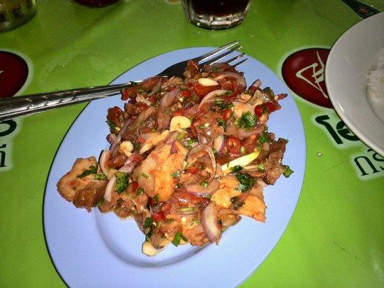 Sip Song Banna: Crispy pork salad. 50 baht!