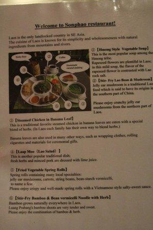 Sonphao : Description of Food