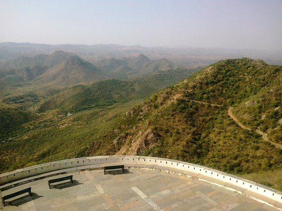 Sajjangarh Wildlife Sanctuary: large sit-out  of   Monsoon Palace - to view  the  hills of  sanctuary